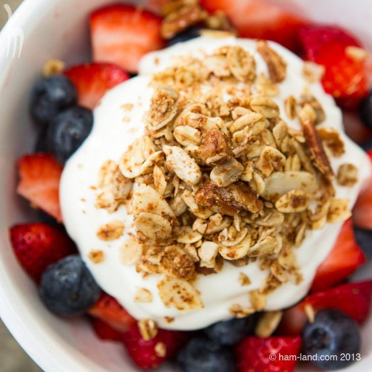 Honey Nut Granola with yogurt and fruit
