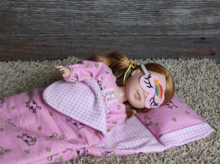 Cute Pink cow flannel Pajama set and matching Sleeping bag American made for the 14.5 inch dolls such as WellieWishers by AmyViolets on Etsy
