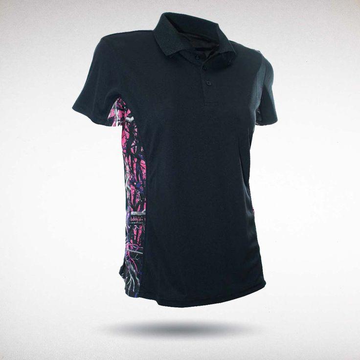 Moon Shine Camo - Muddy Girl Camo | Women's Pink Camo Black Polo Shirt, $29.99 #muddygirl #pinkcamo #camouflage #workout #fitness #gym #yoga