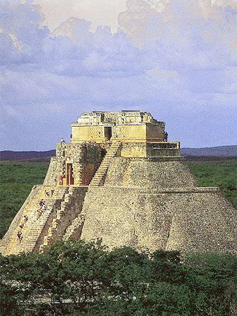 Mayan Pyramid of the Magician, Uxmal, Mexico / The Pyramid of the Magician is a Mesoamerican step pyramid located in the ancient, Pre-Columbian city of Uxmal. The structure is also referred to as the Pyramid of the Dwarf, Casa el Adivino, and the Pyramid of the Soothsayer. The pyramid is the tallest and most recognizable structure in Uxmal.