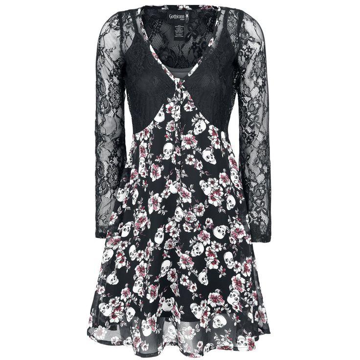 Weg met saai! Deze opwindende zwarte Lace Overlay Dress van Gothicana by EMP is de perfecte combinatie van duister, elegantie en verleiding. De jurk heeft lange mouwen, is voorzien van veel kant en bedrukt met schedels en bloemen. Voor ieder wat wils!