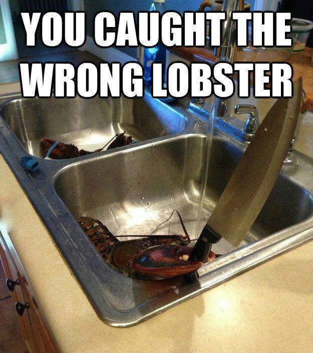 Knife wielding lobster.....Beware