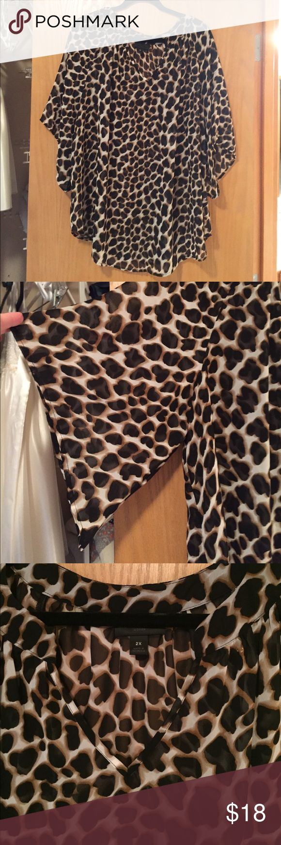 Sheer leopard print top Sheer leopard print shirt sleeved shirt. Cute flared sleeves. V- neck, pullover. 100% polyester Worthington Tops Blouses