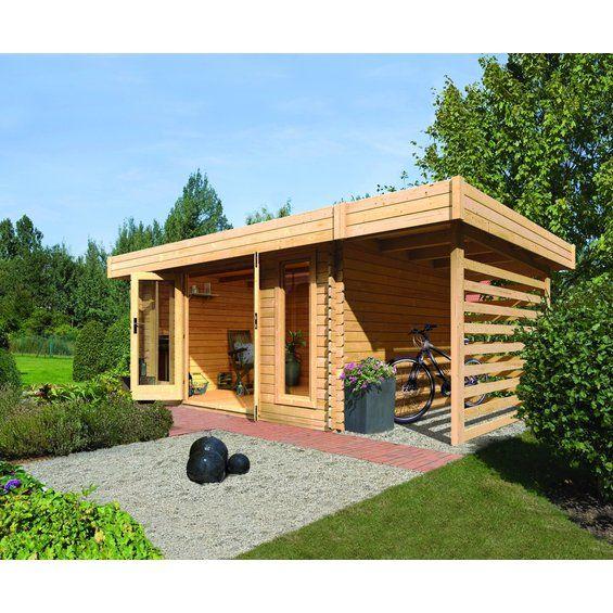 Holz-Gartenhaus Varde 1 Set Natur 493 cm x 310 cm mit Feuerholz Schleppdach