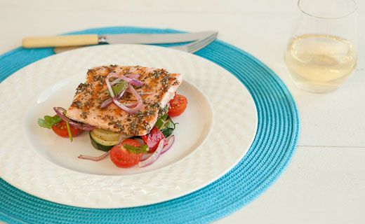 Lunch/Dinner:  Epicure's Peppery Maple Salmon (300 cals/serving) serve with grilled veggies