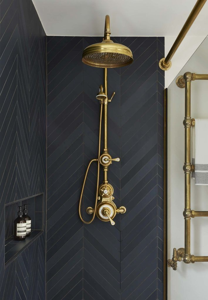 Urban Townhouse Case Study Drummonds Bathrooms Shower With Dark Grey Tiling And Brass Shower Head And Taps Stylish Bathroom Brass Shower Head Bathroom Decor
