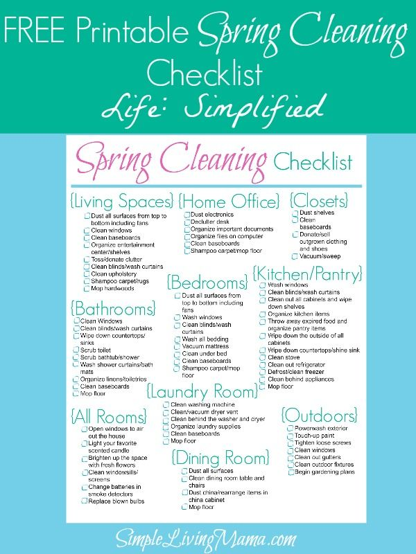 It's that time of the year! Here's a free printable spring cleaning checklist to help you get started!