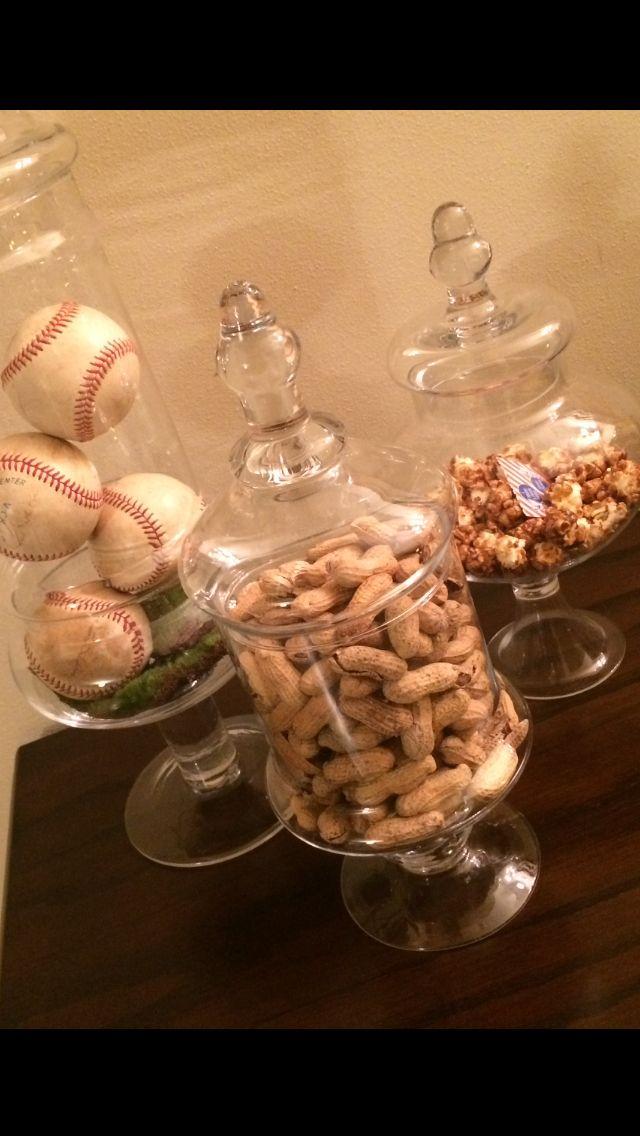 Spring or Summer apothecary  jars baseballs, peanuts and cracker jacks