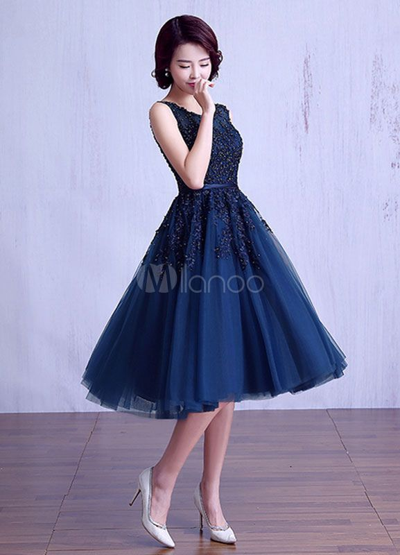 Tulle Prom Dress Dark Navy Beading Graduation Dress Lace Applique Sash A Line Tea Length Mother's Dress