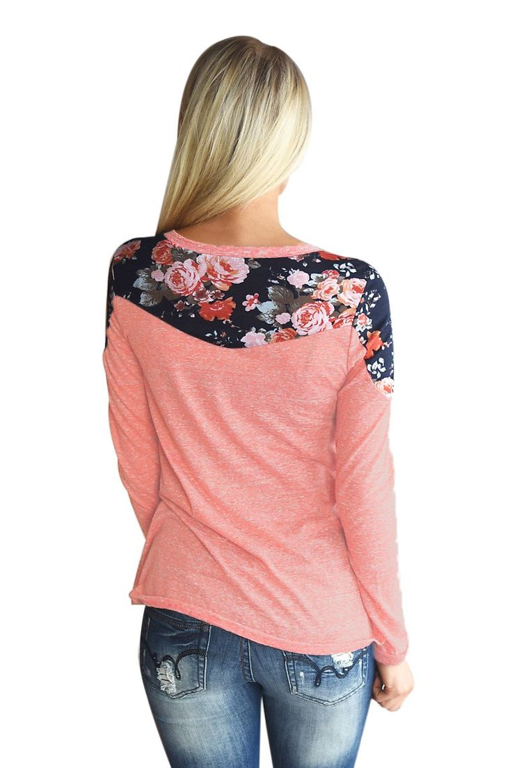 Now Available on chicloth.com: Chicloth Floral S.... Check it out here:  http://chicloth.com/products/chicloth-floral-shoulder-patch-heathered-coral-top?utm_campaign=social_autopilot&utm_source=pin&utm_medium=pin