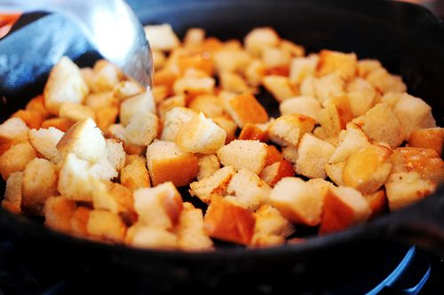Pioneer Woman ~ Homemade CROUTONS in the skillet. With my homemade bread - this would be delicious!!!!