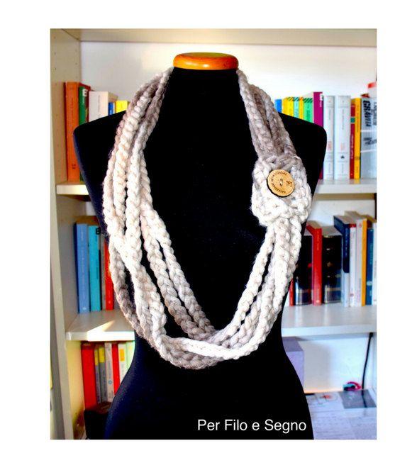 Collana Catenelle all'uncinetto - Crochet Chain Necklace di perfiloesegnostore su Etsy