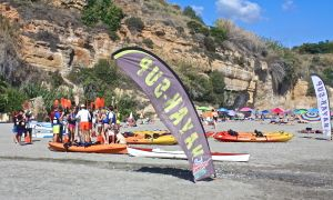 Kayaking group heading out from Burriana Beach, Nerja