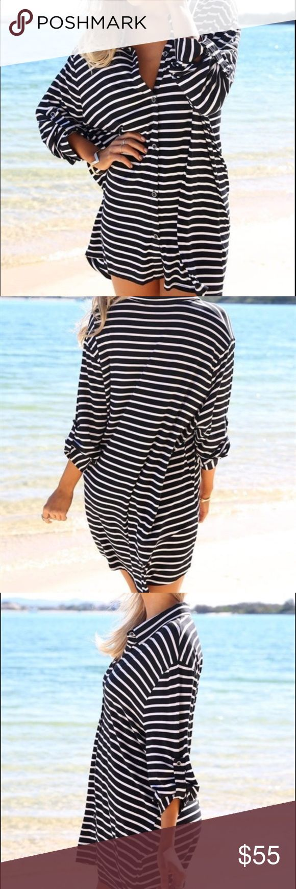 Sabo Skirt Beachy Dress! Sabo Skirt black and white stripe Beach Dress! Sabo Skirt Dresses Long Sleeve
