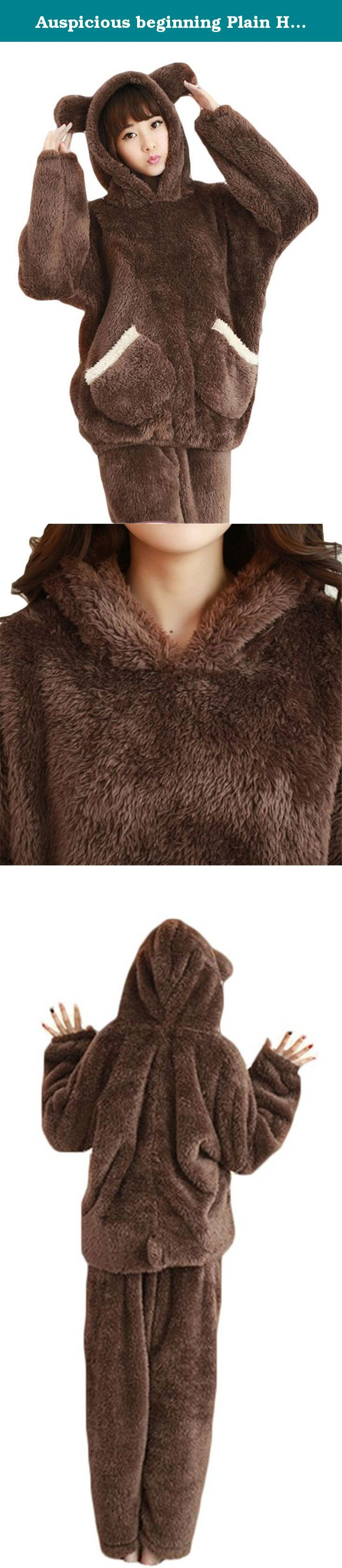 Auspicious beginning Plain Hooded Bear Sleepwear Fleece Pajamas For Ladies Girls. Material: Fleece Two-piece set Long Sleeve Very comfortable to touch and wear. It is cute wearing when you at home .