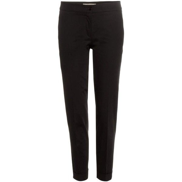 Etro Cigarette Cropped Cotton Chino ($350) ❤ liked on Polyvore featuring pants, capris, black, etro, black pants, chino trousers, black cropped trousers and black trousers