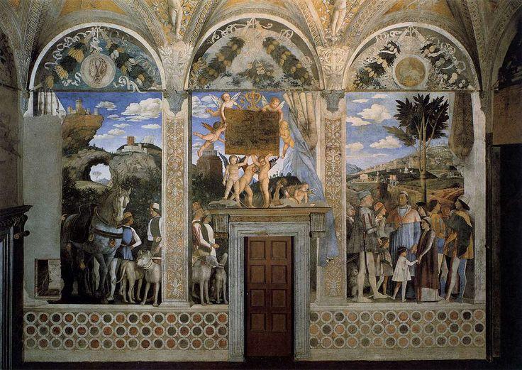 MANTEGNA, Andrea - DucalPalace- Arrival of Cardinal Francesco Gonzaga | Walnut oil on plaster. Camera degli Sposi, Palazzo Ducale, Mantua.
