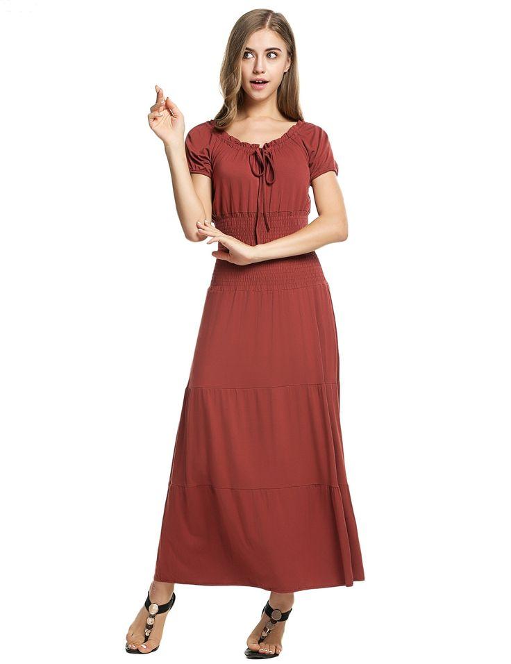 Meaneor Brown Stylish Ladies Women Short Sleeve Tunic Ruffles Elastic Solid Maxi Casual Dresses dresslink.com
