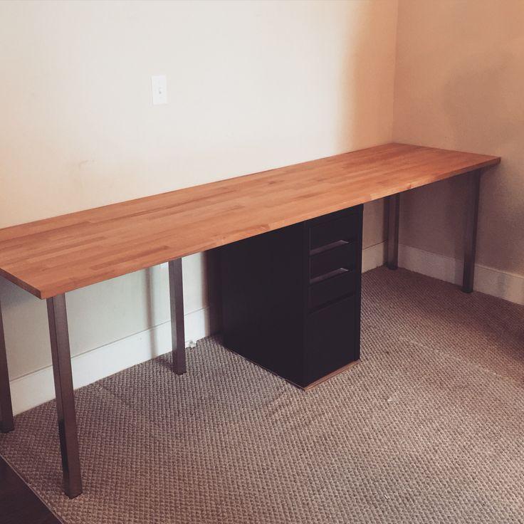Ikea Small Home Office Ideas For Men: DIY IKEA Desk Parts: KARLBY Countertop, Beech: $139 SJUNNE