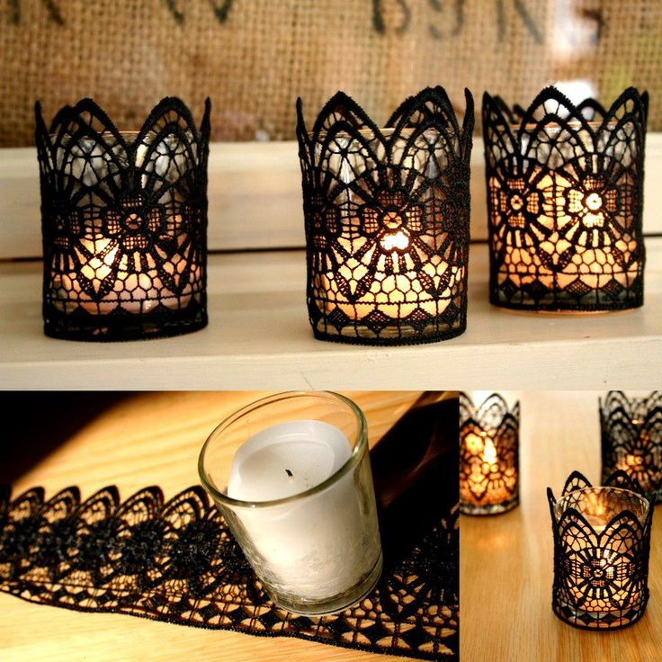 DIY Lace Candles.It's ashame.As much as I love lace.I don't own a single material of it.Tisk