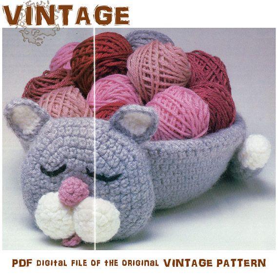Crochet Pattern | Basket Pattern | Crochet Kitty Basket | Crochet Kitty | Crochet Basket | Container Basket | Home decor | Vintage Pattern