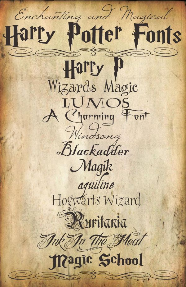 Enchanting and Magical Harry Potter Fonts. Beautiful. And how to do the acceptance letter to Hogwarts.