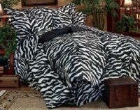 Zebra Print Bed in a Bag Comforter Set Queen by Kimlor. $169.99. This fun black and white Zebra print bedding evokes images of an African safari and adds an exotic change of pace to any bedroom. The Zebra skin design is a perfect complement to safari style decor or kid?s bedroom. All bedding components are zebra print. Flex fit waterbed sheets also available Zebra bed in a bag is the complete bedding solution Bed In A Bag Sets include comforter, Bedskirt, sham...