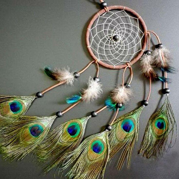 "Bohemian Home Decor Wall Decor Dream Catcher 20"" Peacock Feathers #peacock #feathers #dreamcatcher #dream #catcher #homedecor #home #decor #boho #bohemian #giftforher #freeshipping"