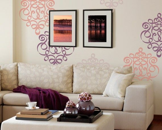 Damask Wall Stencil in Modern Ribbon Style for DIY Wallpaper Look by royaldesignstencils on Etsy https://www.etsy.com/listing/64076470/damask-wall-stencil-in-modern-ribbon