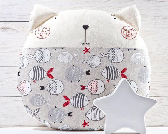 Primitive Animal Pillow Cat Round Pillow Cute Nursery by JuliaWine #cat #pillow #StuffedCat #JuliaWine #Cushion