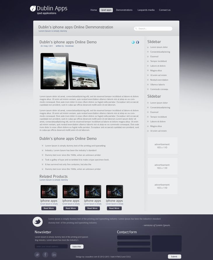 Dublin iPad Apps – Product Inner Page