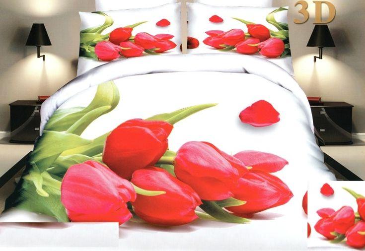 Červené růže povlečení na postel bílé barvy