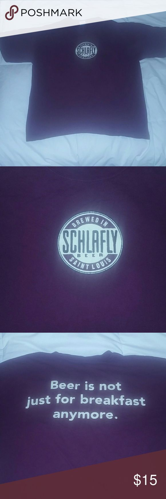 "Schlafly Beer Is Not Just For Breakfast Anymore L Size Large Schlafly 'Beer is not just for breakfast anymore."" St. Louis. Worn, no holes, no stains, 22"" x 23"" Gildan Shirts Tees - Short Sleeve"