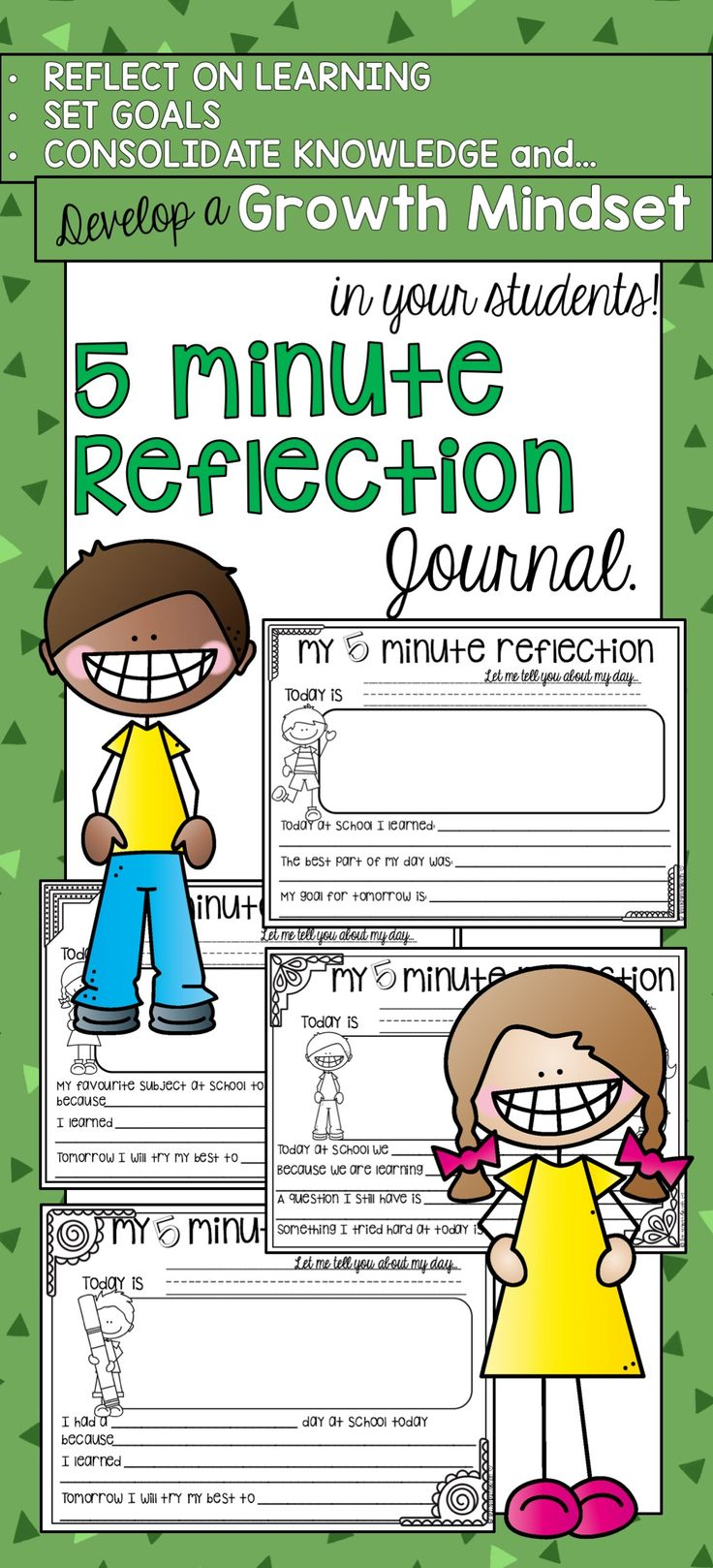 First and Second Grade Reflection Journal. Build a growth mindset, set goals, reflect on learning and more!