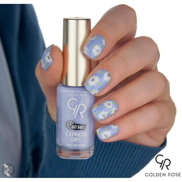 Forget-me-not flower nails: tutorial.   Golden Rose Express Dry.