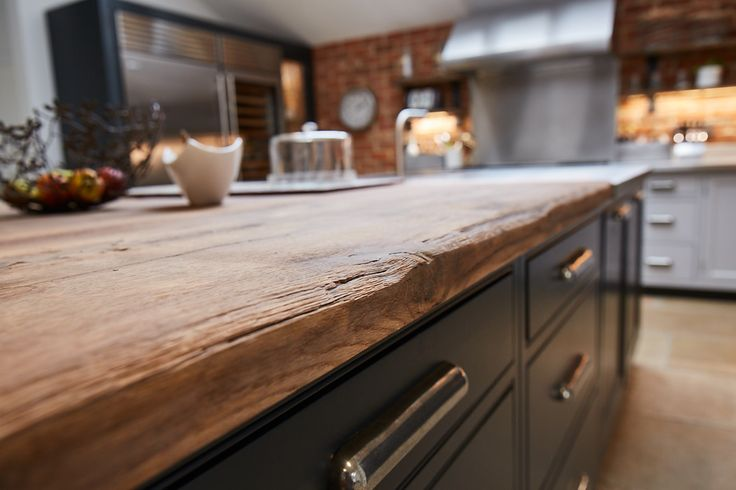 Bespoke reclaimed wooden kitchen worktops from The Main Company. http://themaincompany.co.uk/p/Industrial