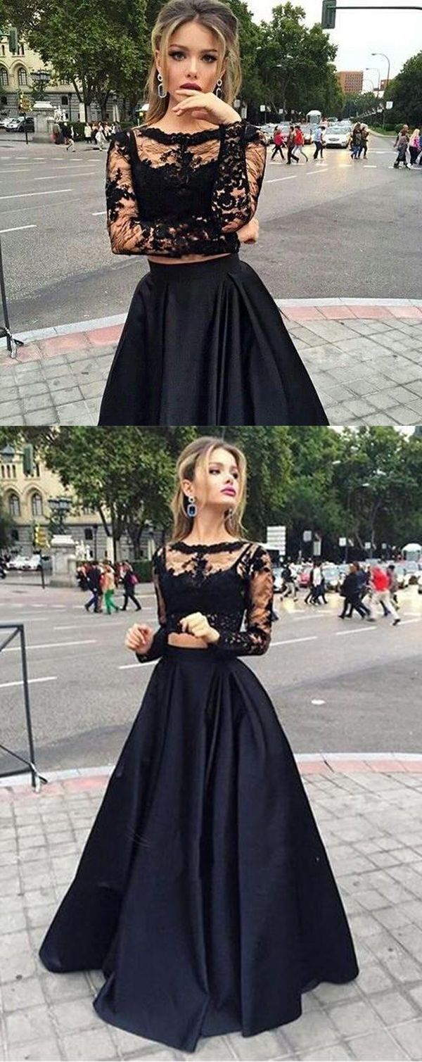 Bateau neck two piece long sleeves lace evening dress prom dresses