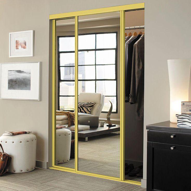 Contractors Wardrobe 96 in. x 96 in. Concord Mirrored Bright Gold Aluminum Interior Sliding Door