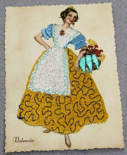 Vintage silk embroidered postcard valencia spain young - Vintage valencia ...