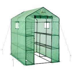 Large Heavy Duty Walk - In 2 Tier 8 Shelf Portable Lawn And Garden Greenhouse - Green - Ogrow