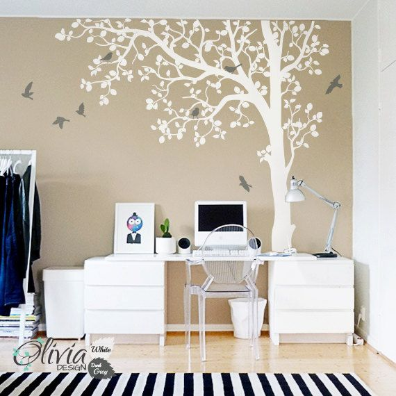 In bold white and dark grey, this imaginative tree mural vinyl wall decal will give your office space, living room or dining room a sense of