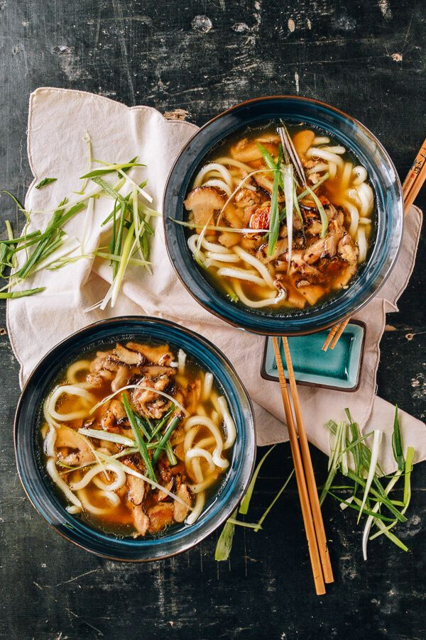 Udon Noodle Soup with Chicken & Mushrooms | Classic Asian flavors like soy sauce, shiitake mushrooms, mirin, and scallions, blend together in a savory broth. Check out the full recipe to see how to make this comforting dish for fall.