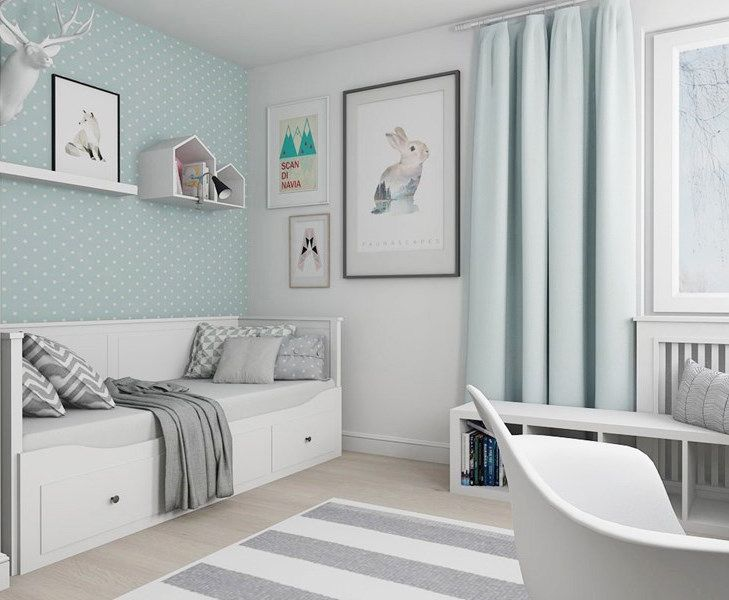 Kinderzimmer 9 Qm Einzelbett Mit Schubladen Mintgrun Weiss Grau Farben Kinderzimmer Einrichten Kinder Zimmer Zimmer Einrichten Jugendzimmer