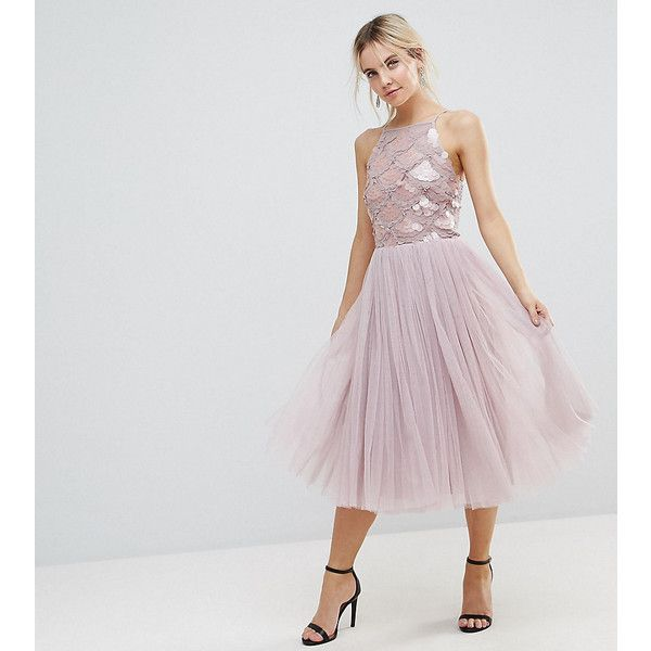 Little Mistress Petite Tulle Dress With Sequin Upper ($78) ❤ liked on Polyvore featuring dresses, beige, petite, high neck prom dresses, petite dresses, sequin cocktail dresses, petite length maxi dresses and tulle prom dress