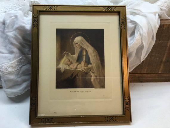 Virgin Mary Madonna Religious Picture by ShabbyVintageByJan