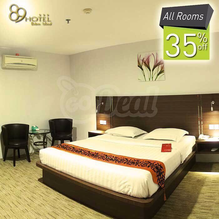 [Hotel 89 Promo - NEW MERCHANT]  Get Super Deal at Hotel 89 35% Discount for Publish Room Rate and 20% Discount for Food & Beverage  Explore the excitement of Batam Island and be our guest at Hotel 89 Located at the heart of city at Batam to let you experience the quality time here. Book your room at Hotel 89 and enjoy our generous deal for every GoDealers which you have the privilege to enjoy 35% Discount for Room Rate and 30% Discount Food & Beverage valid Everyday!   Everyday  Category…