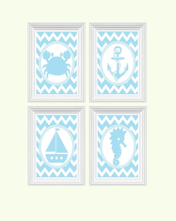Nautical  Decor Nursery Art Beach Crab Anchor Boat Seahorse Ocean Baby Blue Wall Art Print Set of 4 - 8x10 Kids Room Home Decor Baby's room