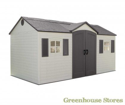 Lifetime 15x8 Plastic Shed complete with floor, skylights and shelving.  http://www.gardenshedstores.co.uk/Lifetime-15x8-Plastic-Shed.htm