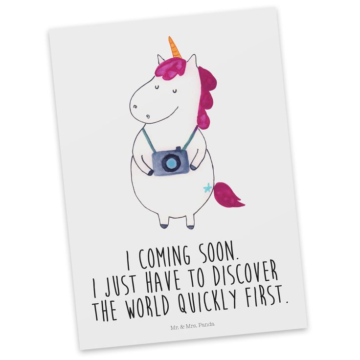 Postkarte Unicorn Fotograf mit Spruch aus Karton 300 Gramm  weiß - Das Original von Mr. & Mrs. Panda.  Diese wunderschöne Postkarte aus edlem und hochwertigem 300 Gramm Papier wurde matt glänzend bedruckt und wirkt dadurch sehr edel. Natürlich ist sie auch als Geschenkkarte oder Einladungskarte problemlos zu verwenden. Jede unserer Postkarten wird von uns per hand entworfen, gefertigt, verpackt und verschickt.    Über unser Motiv Unicorn Fotograf mit Spruch  Das fotografierende Einhorn ist…