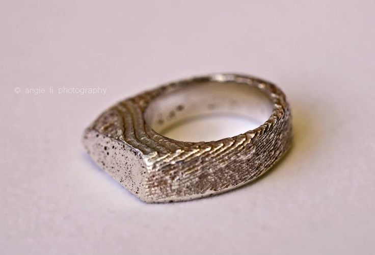 925 recycled silver ring, casted in sepia